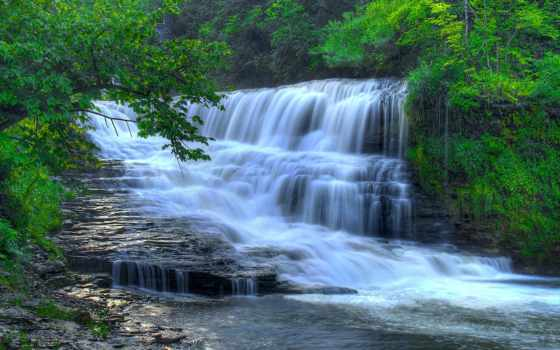 hermosa, cascada, escritorio, pantalla, водопад
