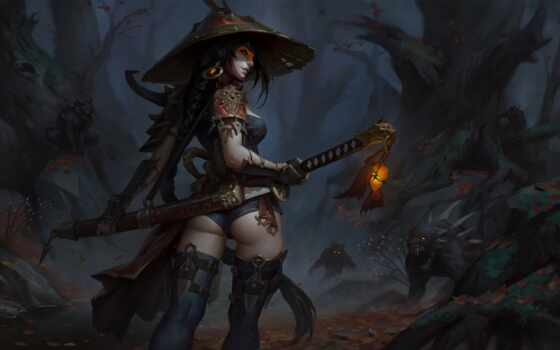 art, девушка, демон, hunter, dmitry, fantasy