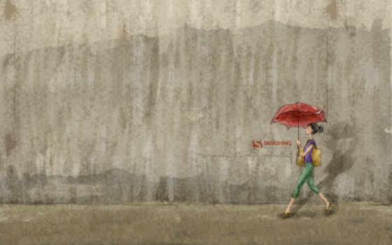 девушка, зонт