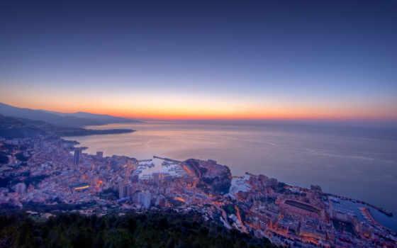 рассвет, монако, сумерки, gorod, просмотреть, города,