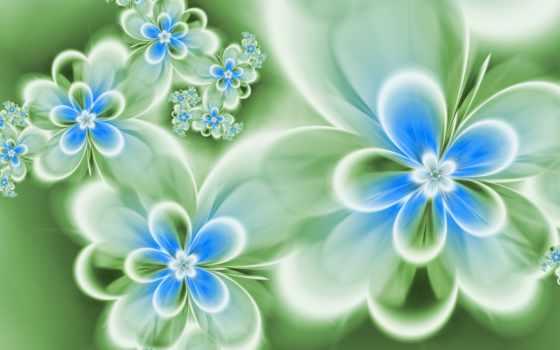 цветы, абстракция, голубые
