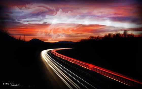 дорога, ночь, огни