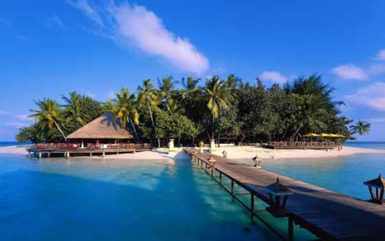 острова, отдых, maldives, острове, тропическом, остров, пальмы, море,