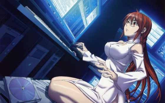 anime, девушка, очки, sekirei, компьютер, рыжая,