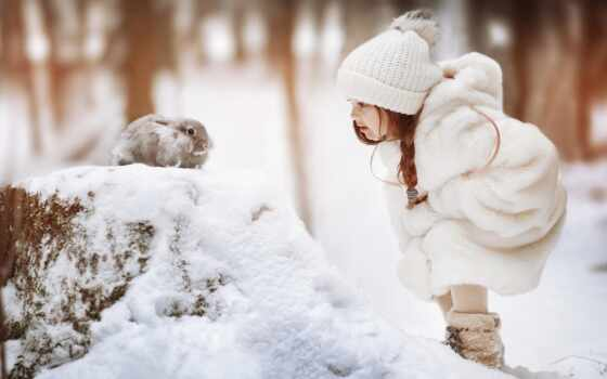 снег, кролик, winter, шапка, шляпа, white, девушка, шубка