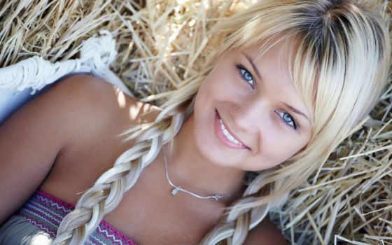 girl, блондинка, косички, стог, сено, улыбка, глаза, girls, people, are, девушки, grass, bild,