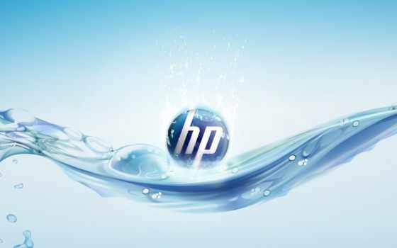 HP, logo, blue, water, bubbles