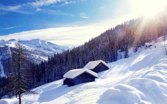 ecran, fonds, montagnes, природа, autriche, alpes, les, neige,