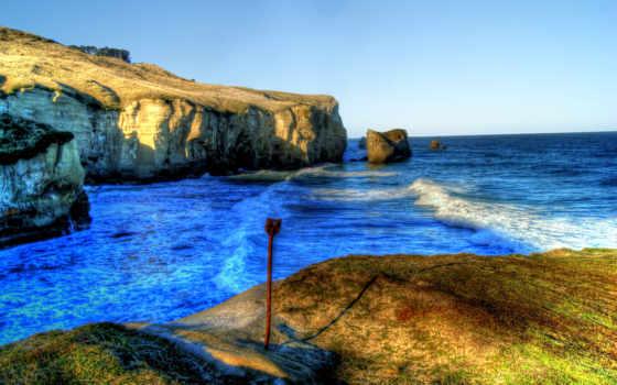 hdr, пляж, rocks, море, cry, landscape,