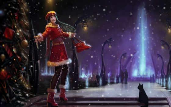 winter, снег, ночь, елка, девушка, art, кот, fun, широкоформатные, trees,