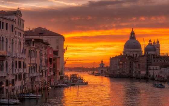 ,венеция, закат, вода