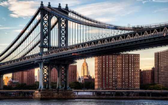 нью, город, manhattan, мост, река, reki, города, картинку, italian, york,