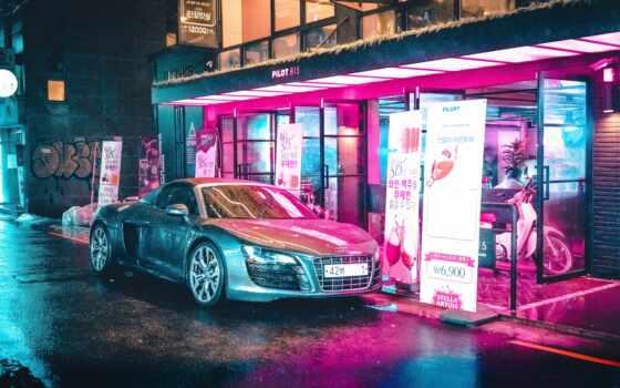 neon, car, огни, vaporwave, art, glitch, sign, песнь, pro
