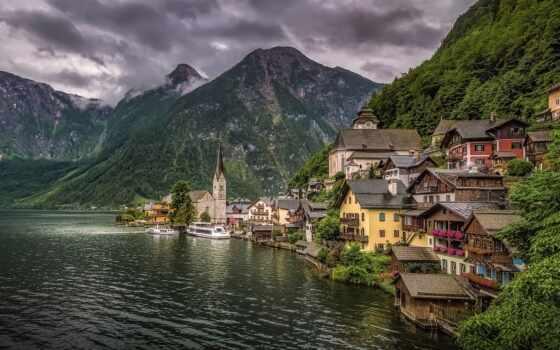 hallstatt, австрия, гора, озеро, house, марина, фото, город