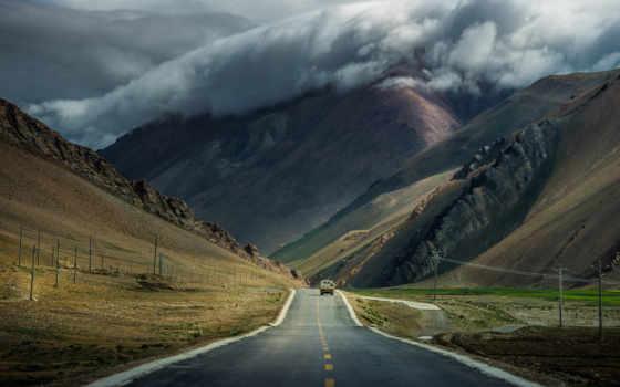 дорога, горы, машина