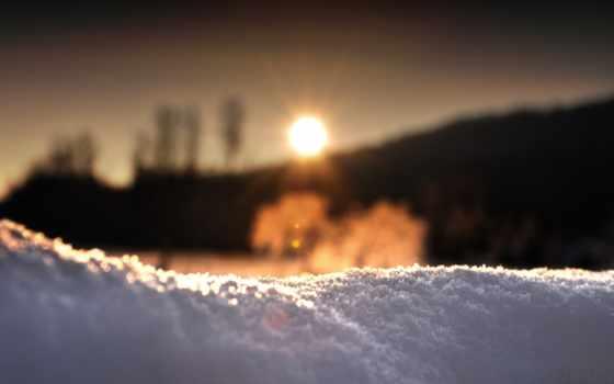 снег, sun, winter, крупинки, закат, макро,