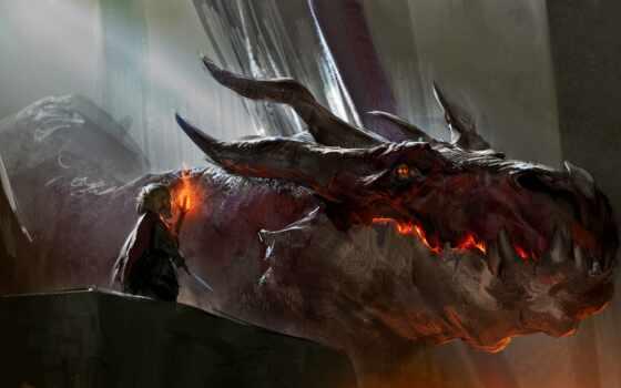 smaugii, смауг, art, красивый, hobbit, дракон