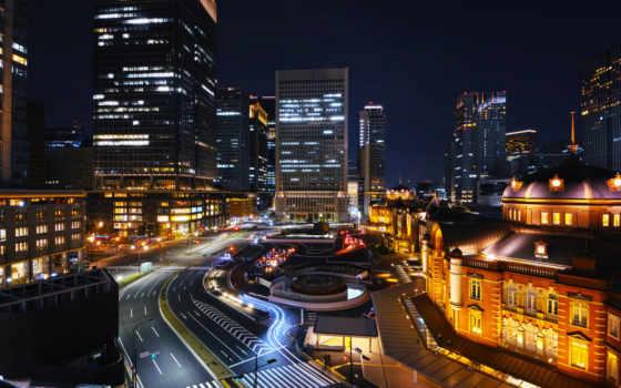 город, ночь, япония