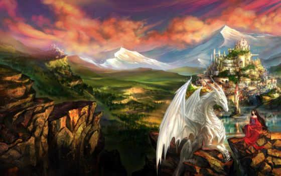 дракон, девушка, фэнтези