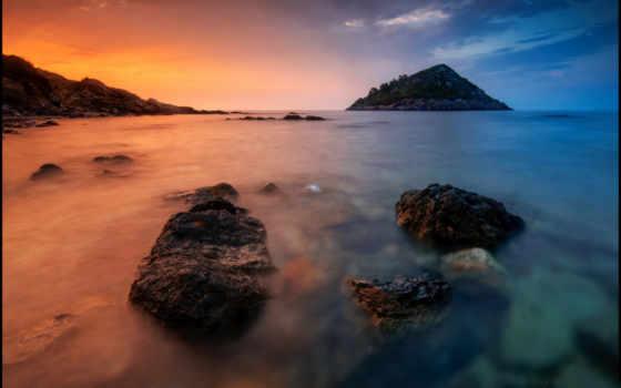закат, море, камни