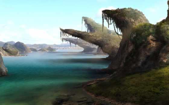 скалы, water, art