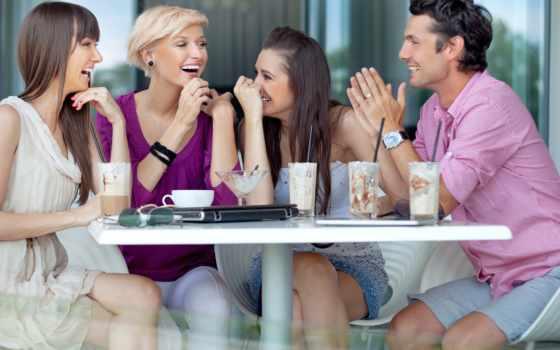 друзья, улыбки, кафе, коктейли, парень, девушки