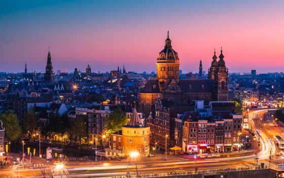 amsterdam, holland, дома, город, закат, здания, амстердама, фотообои, вечер,