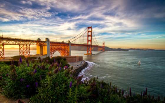 мост, gate, море, sana, золотистый, сша, francisco, небо, landscape, cvety,