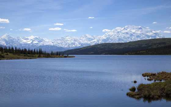 аляска, national, park, гладь, горы, denali, range, озеро, wonder, гряда,