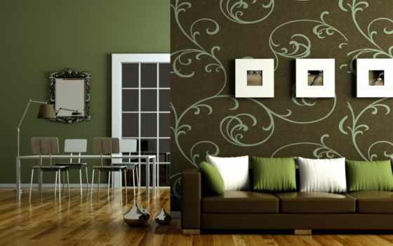 интерьере, гостиной, зеленые, комнаты, color, design, зелёный, стен, сочетание, обоями,