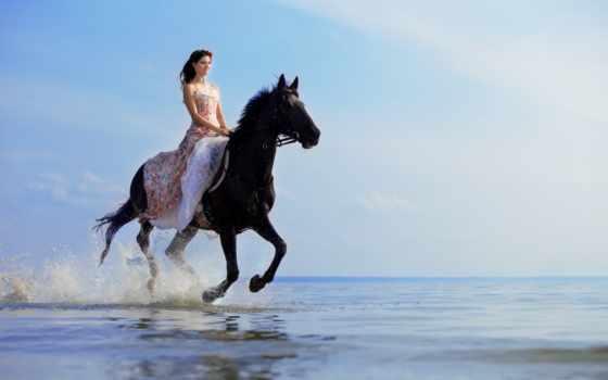 лошади, девушка, скачет