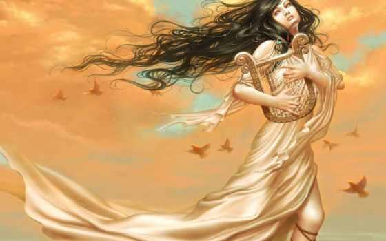 девушка, fantasy, арфа, devushki, арфой, руках, стоковое, рисунок, fone, неба,