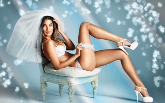 свадебный, белье, девушка, lower, невеста, платье, stand, том, seductive