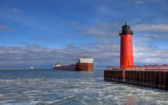 lighthouse, свет, серый, море, корабль, white, tanker, slate, нефть
