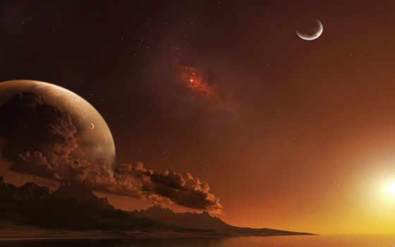 планеты, другой, звезда, мир, dijital, картинка, sanat, dreamy, planet,
