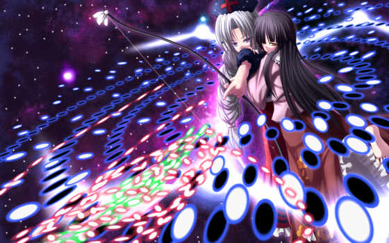 kaguya, hair, eirin, weapon, bow, touhou, danmaku, spellcard, black, girls, yagokoro, this, eyes, similar, houraisan, images,