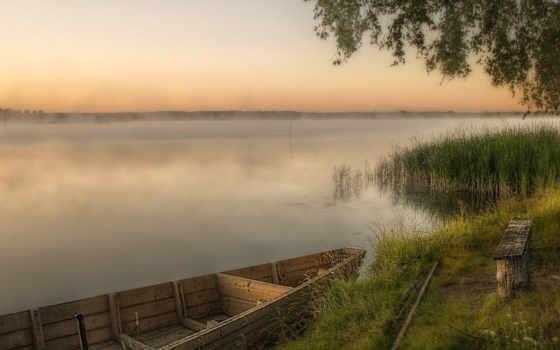 лодка, река, landscape