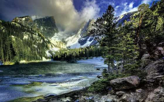 yosemite, park, national, winter, landscape, trees, mountains, озеро, горы,