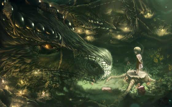 дракон, fantasy, девушка, art, лес, фантастика, рисунок,