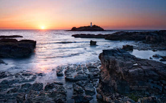 англия, lighthouse, вечер, закат, sun, море, cornwall,