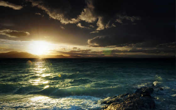 море, горы, sun, waves, тучи, природа, небо, закат,