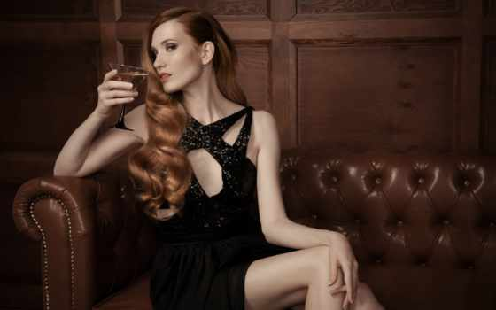 mujer, sof, hermosa, foto, lujosa, cuero, imagen, fotos, imágenes,