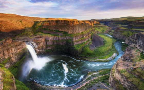 пейзажи -, water, скалы, landscape, река, водопад, поток, панорама, каньон, dave, морроу, morrow,