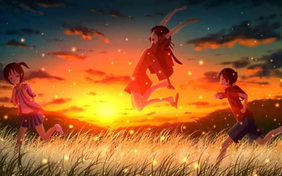 anime, природа, широкоформатные, девушки, фэнтези, весна, графика, светлячки,