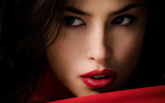 губы, красные, девушка