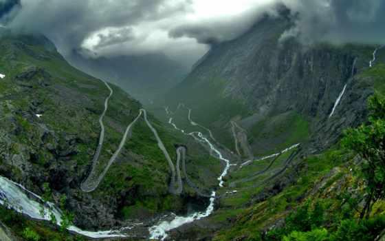 trollstigen, trolley, лестница, горы, пейзажи -, гора, park, норвегии, norwegian, планеты, сестер,