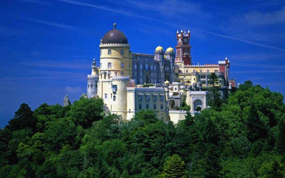 португалия, пенка, да, паласио, дворец, португалии, красивый, pena,