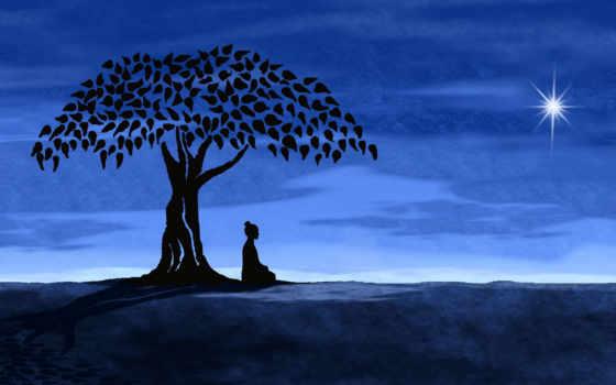 buddha, медитация, живопись, art, artwork, buddhist, дерево,