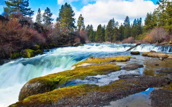осень, заставки, водопад, лес, природа, осенние, поток, windows, камни,