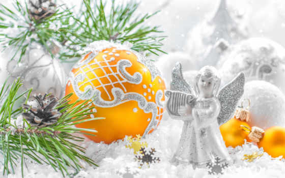 new, год, angel, christmas, ветки, мяч, шишки, праздники, ангелы,